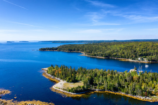 Aerial view of bay in Nova Scotia, Canada
