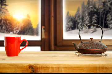 Wall Mural - Winter background of window and free space for your decoration.