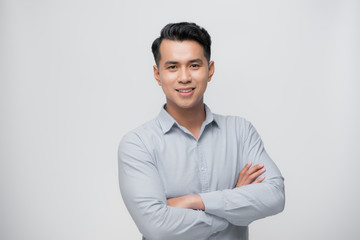 Smart asian business man on white