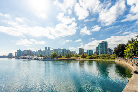 view from Kitsilano Beach to Vancouver downtown