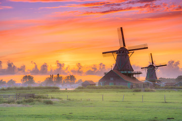 Fototapeta Traditional village with dutch windmills and river at sunset, Holland, Netherlands.