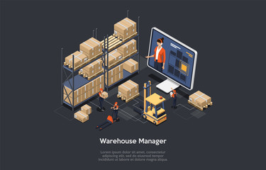 Isometric warehouse online manager concept. The process of online warehouse management compositions including loading and unloading cargo, inventory sorting and storage. Vector illustration