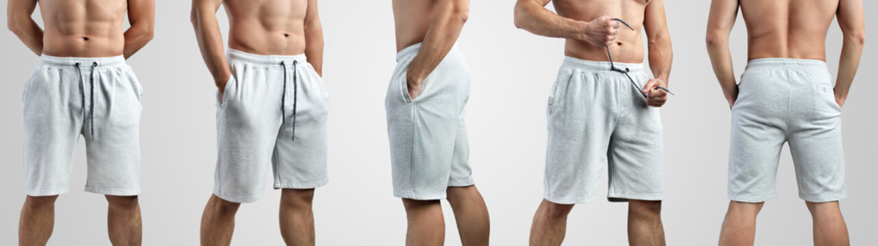 Mockup of white shorts on a man on an isolated background.