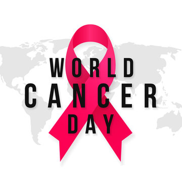 World Cancer Day typography poster template design with world map background vector