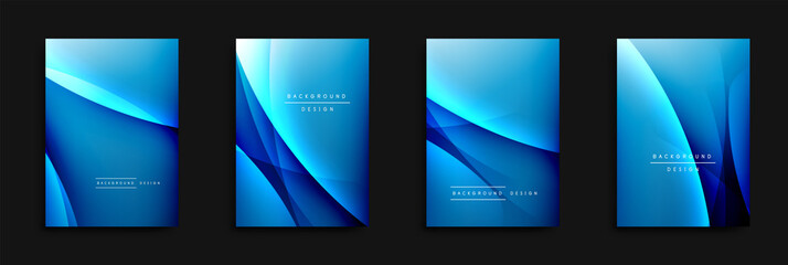 Fototapete - Wave covers set with fluid gradients. Dynamic trendy abstract background with flowing wavy lines. Vector Illustration