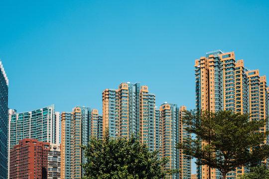 skyscraper buildings , high rise apartment bulding complex,  HongKong -
