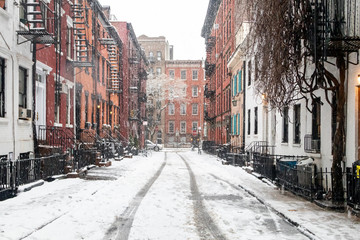 Snowy winter scene on Gay Street in the Greenwich Village neighborhood of New York City Wall mural