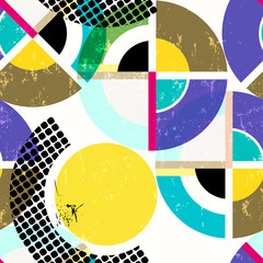 seamless geometric pattern background, retro/vintage style, with circles/dots, strokes and splashes