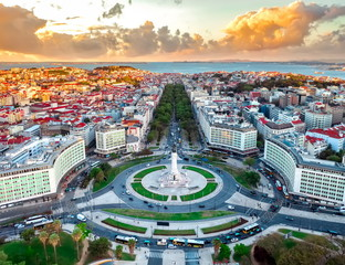 Lisbon aerial skyline panorama european city view on marques pombal square monument, sunset outside crossroads portugal - fototapety na wymiar