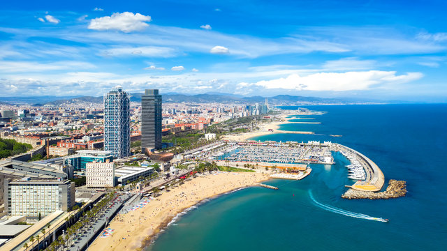 Barcelona, Spain aerial panorama Somorrostro beach, top view central district cityscape outdoor catalonia skyline