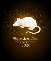 Happy New Year 2020 background. Year of the Rat concept. Vector