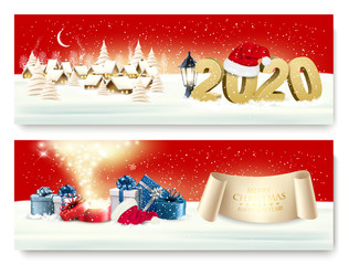 Holiday christmas winter background with a village landscape and a red gift bow and ribbon. Vector.