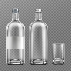 Vodka glass bottle realistic vector illustration. Open and closed cap alcohol packaging filled with clear liquid, with blank label, and empty drinking glass isolated on transparent background, mockup