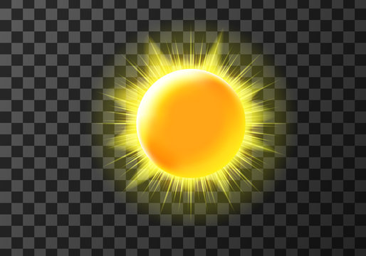 Sun disk with rays, weather meteo icon cartoon vector illustration. Yellow shiny sun with radiant light. Element for weather forecast, isolated on transparent background