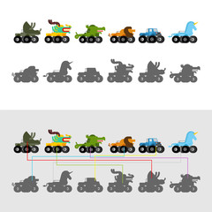 Find correct shadow. Monster Truck animal. Cartoon car beast on big wheels. kids game vector illustration