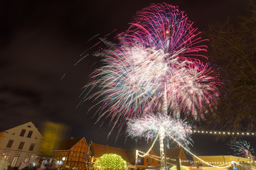 Colorful fireworks in the city center.