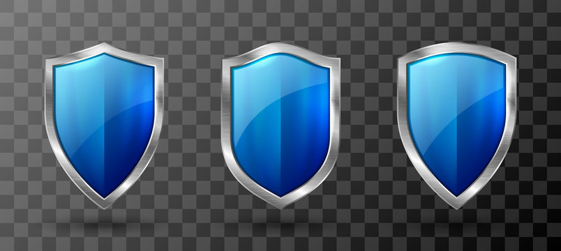 Blue shield metal frame realistic vector illustration. Blank blue glass or acrylic panel with reflection glow, award trophy or certificate template, front view isolated on transparent background