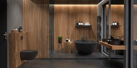 Bad, Badezimmer, modern, freistehende Badewanne Fototapete