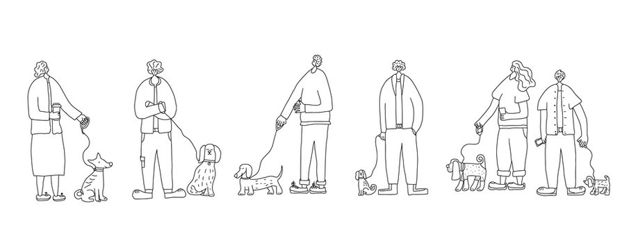 Dog walking. Human rerson with dog. Vector design.