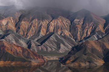 Aluminium Prints Cappuccino Beautiful landscape with close up colorful mountains and lake with reflection.