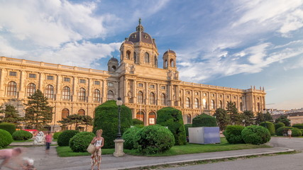 Garden Poster Vienna Beautiful view of famous Naturhistorisches Museum with park and sculpture timelapse hyperlapse in Vienna, Austria