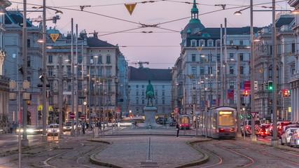 Monument to Schwarzenberg on Schwarzenbergplatz square day to night timelapse in Vienna. Austria Fotomurales