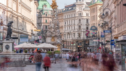 Fotorolgordijn Wenen People is walking in Graben St. timelapse, old town main street of Vienna, Austria.