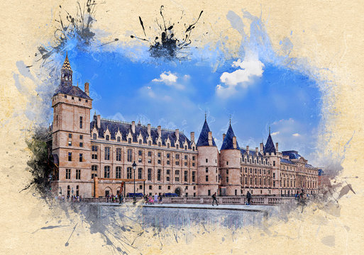 The Conciergerie, a former royal palace and prison. Paris, France. Ink watercolor style.