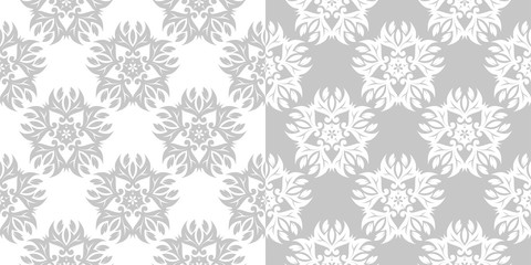 Floral seamless patterns. Gray and white backgrounds compilation