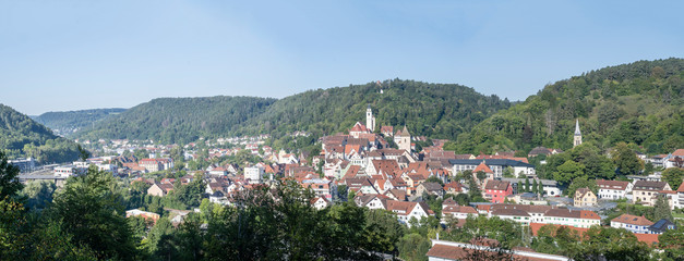 Foto op Canvas Khaki aerial cityscape of green valley and historical town, Horb am Neckar, Germany