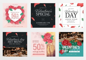 Valentine's Day Social Media Post Layout Set with Floral Illustrations