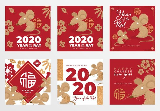 Chinese New Year Social Media Post Layout Set with Rat Illustrations