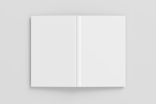 Blank white vertical open and upside down book cover on white background isolated with clipping path around cover. 3d illustration