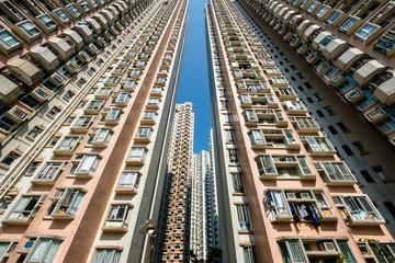 residential skyscraper building, real estate exterior, HongKong