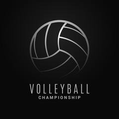 Volleyball ball logo. Volleyball champion on black