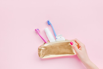 Teeth hygiene and oral care products flatlay