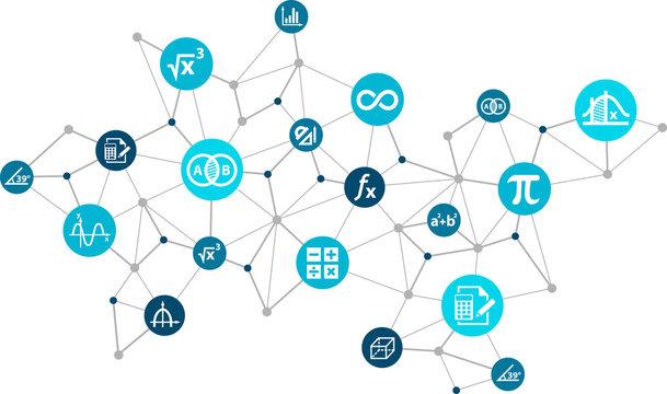 mathematics / algebra / geometry concept: connected maths icons vector illustration