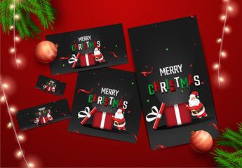 Social Media Layout Set for Merry Christmas Celebration