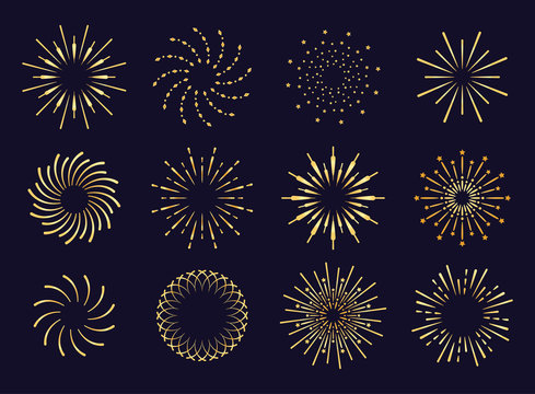 Starburst, firework shadow golden icon vector. Radiating from the center of straight and spiral beams, lines. Set of simple elements for logo, signs. Firework, pyrotechnics