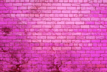 Dark and light pink color painted brick wall splashed with dark bloody paint.