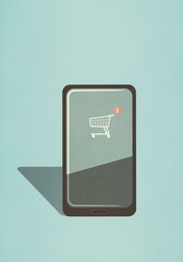 Shopping cart app on smart phone screen