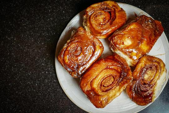 Homemade sticky buns on a plate