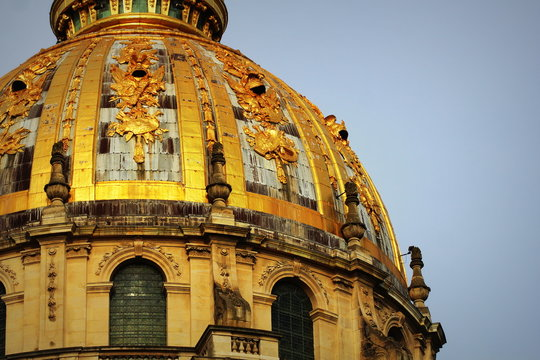 Rooftop of Les Invalides in Paris close up against a blue sky.