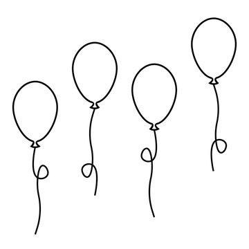 balloons ball set. vector stock. black simple flat outline illustration isolated eps10 on white background