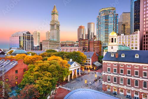 Fototapete Boston, Massachusetts, USA Downtown Skyline