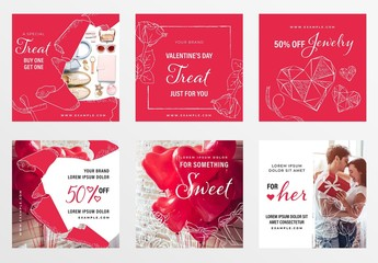 Valentine's Day Banner Layouts with Geometric Hearts