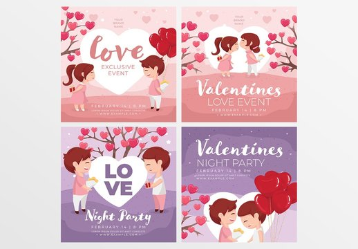 Valentine's Day Banner Layouts with Cute Characters