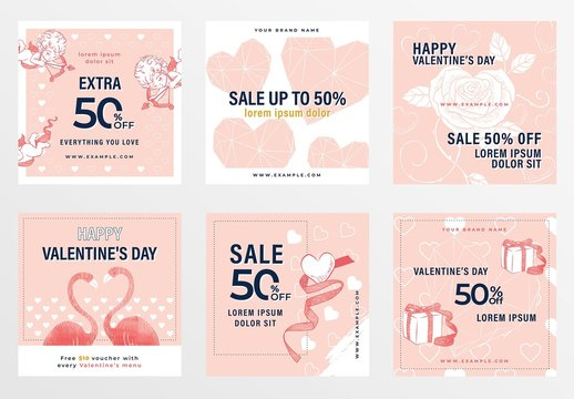 Valentine's Day Banner Layouts with Mixed Illustrations