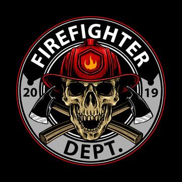 vector of fire fighter skull emblem design