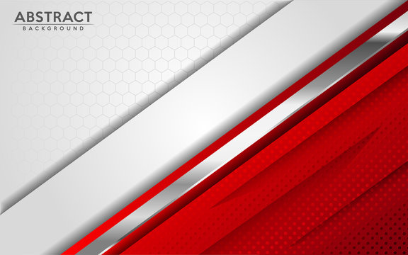 Modern abstract white and red background with 3D Overlap layers effect.